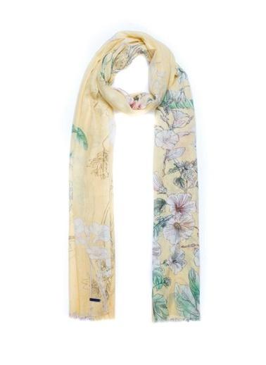Silk and Cashmere İpek Karişimli Jas Çiçek Desenli Şal 70X180 Cm Lacivert